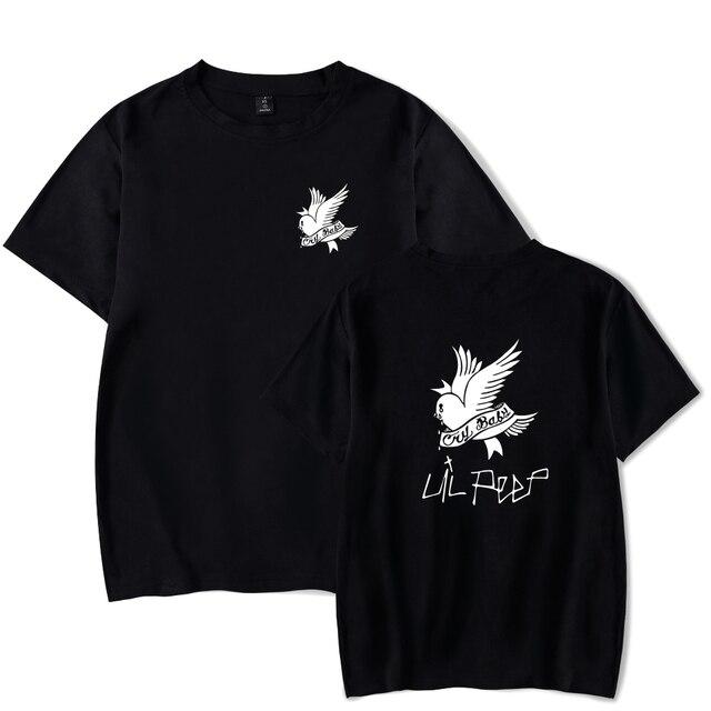 Lilのぞき見tシャツ夏コットンoネック黒半袖tシャツ男性パンク岩ヒップホップトップスティーlilのぞき見