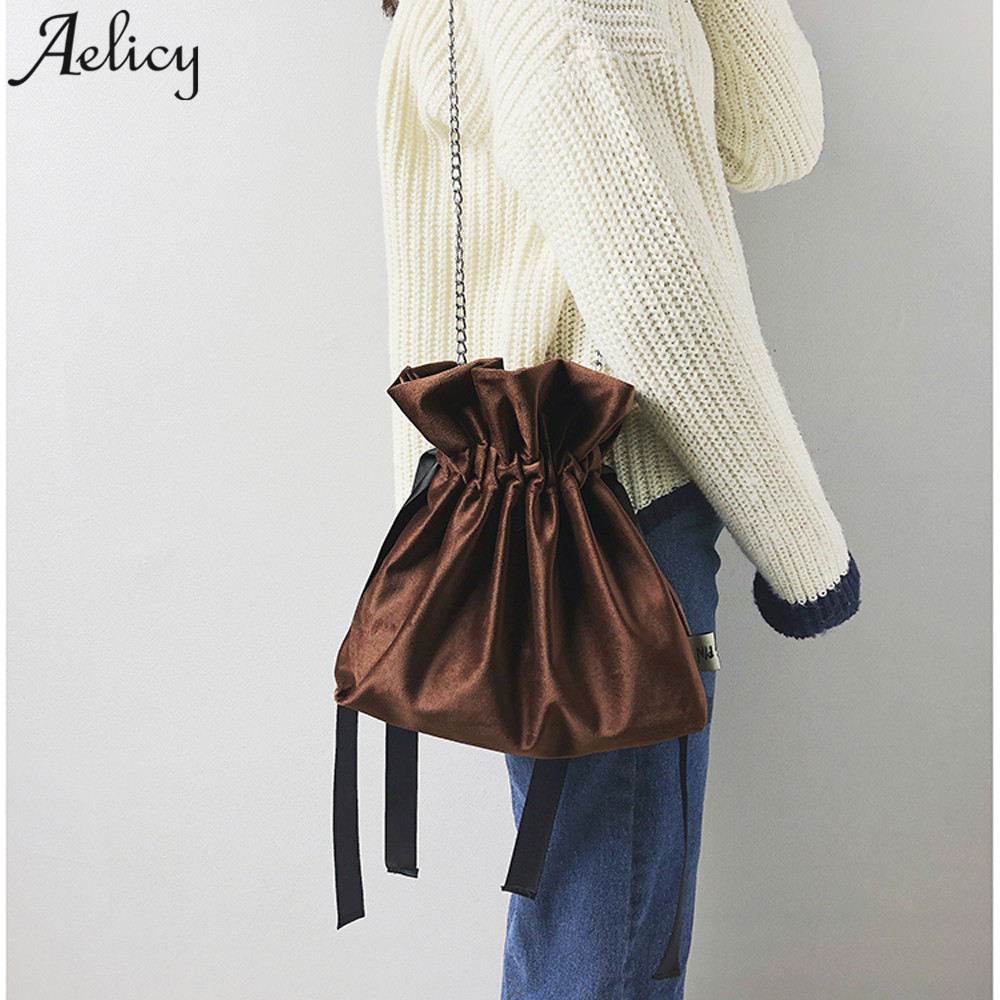 Aelicy luxury Velour Bucket Bag Mini Shoulder Bags With Chain Drawstring Small Cross Body Bags Beam Port Storage Shopping BagAelicy luxury Velour Bucket Bag Mini Shoulder Bags With Chain Drawstring Small Cross Body Bags Beam Port Storage Shopping Bag