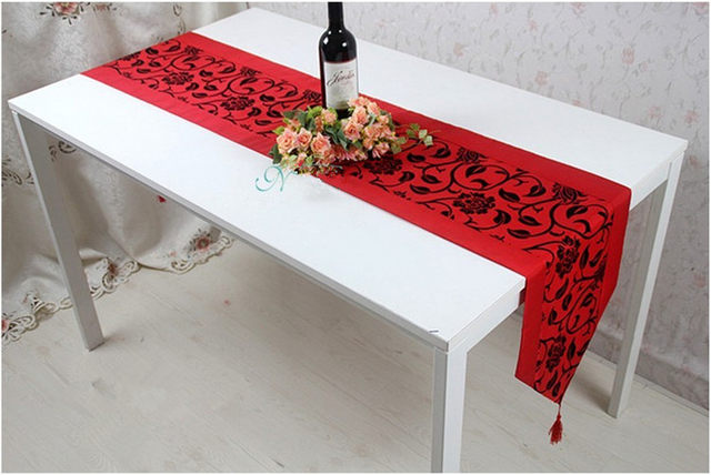 Table Runner Fashion Silk Brief Dining Table Cloth Christmas Decoration  Luxury Fashion Tablecloth Bed Flag Red Table Mats