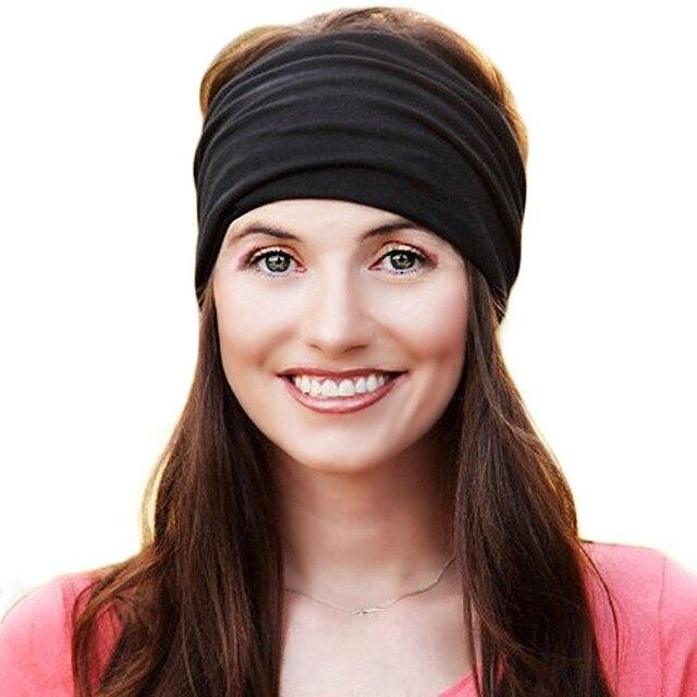 e813e52364ff42 Elastischen Breiten Turban Stirnbänder für Frauen Baumwolle Bandana  Stirnband Kopf Wrap Haarband Headwear Fascinator Mädchen Haar