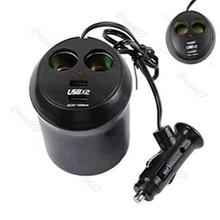 1PC Car auto Cigarette Lighter Dual USB Charger Socket Cup Holder Adapter 12V Black G6KC