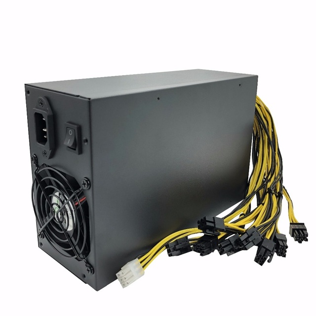 1800W High-efficiency 10x6 Pin Miner Power Supply for 6 GPU Bitcoin Antminer S9 S7 L3+ D3 T9 E9 A4 A6 A7 with 2 Cooling Fans