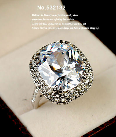 High Quality Super Big 6 Carat Sparkling 4 Prong Square Cz