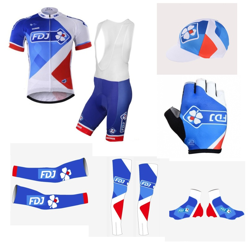 team FDJ 7PCS full set 100% Polyester cycling jersey Short sleeve quick dry bike clothing MTB Ropa Ciclismo Bicycle maillot GEL 2017 pro team fdj spring long sleeve cycling jerseys bicycle maillot breathable ropa ciclismo mtb quick dry bike clothing 3d gel