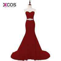 XCOS Cheap Red Mermaid Wedding Dress White Lace Train Bridal Wedding Gown Real Photos 2018 Vintage Sash vestido De noiva