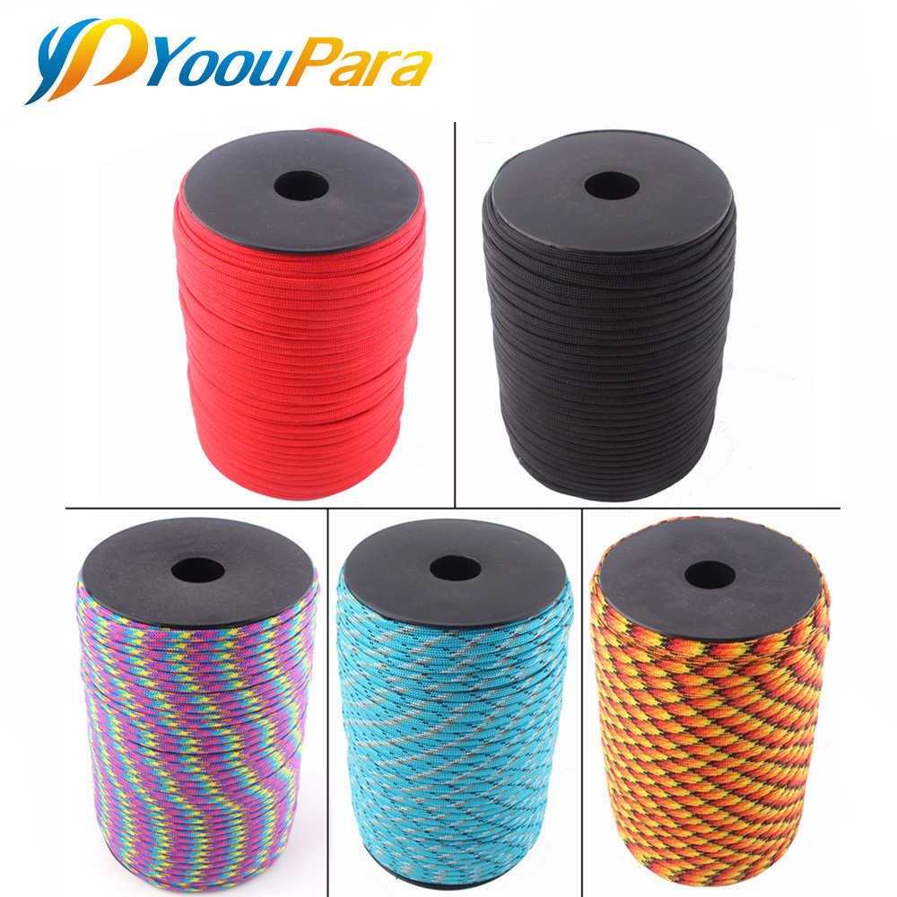 252 Colors 100m/Spool Paracord 550 7 Strand 4mm Rope Lanyard Paracord Outdoor Survival Emergency Parachute Cord oumily handmade outdoor survival parachute cord paracord belt black