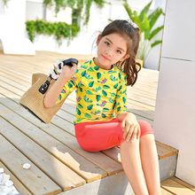 2018 New Girls Children Swimsuit Two Pieces Bathing Suit Sunscreen UPF 50+ Baby Girl Swimming Diving Suit Swimwear(China)