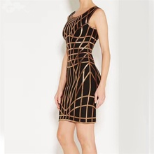 New Arrival Women Summer Sexy Backless Print Bandage Dress 2017 Knitted Elastic Party Mini Dress O
