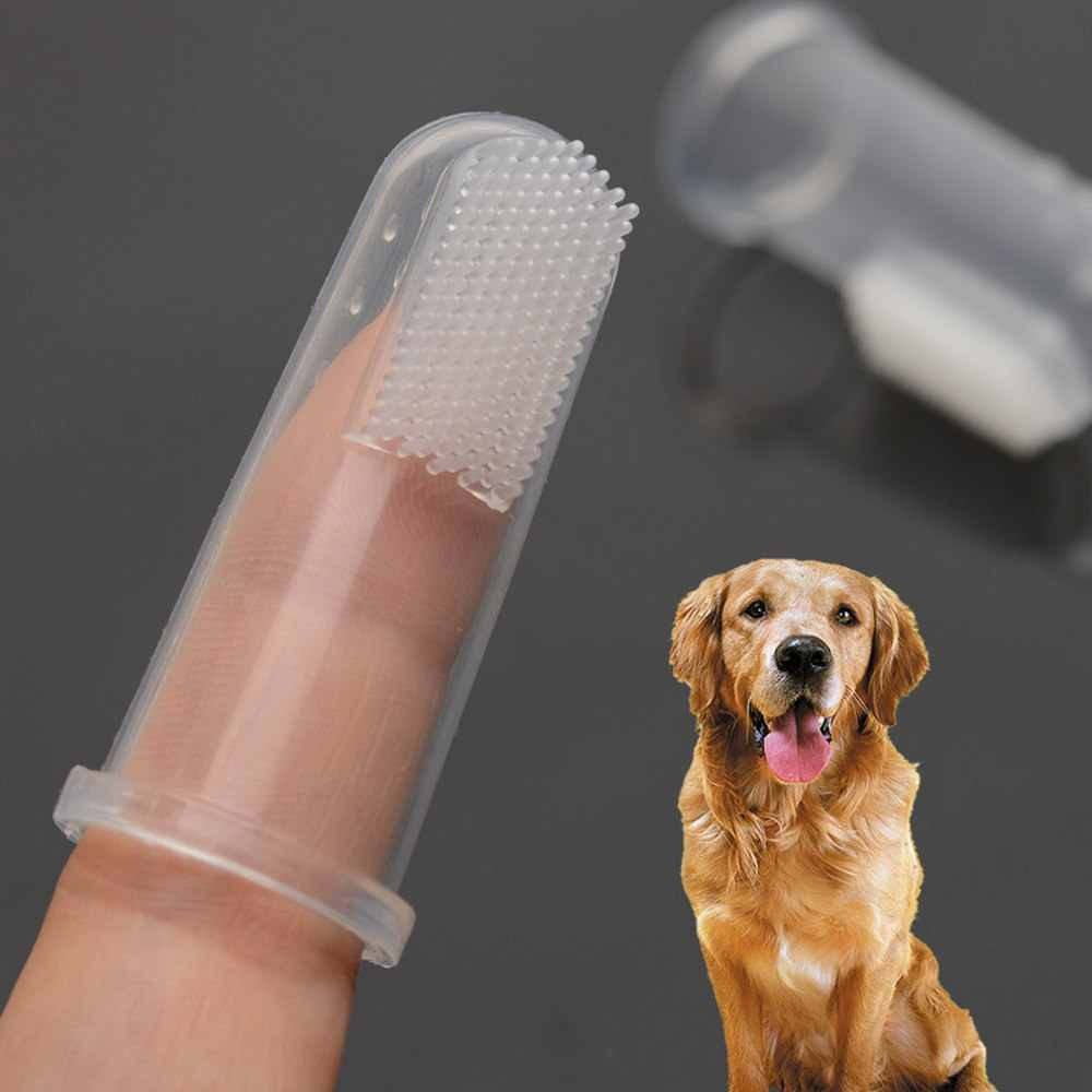 Silicone Soft  Pet Finger Tooth brush Puppy Teddy Dog Brush Clean Bad Breath Tartar Teeth Tool Cat Dog Accessories Pet Supplies