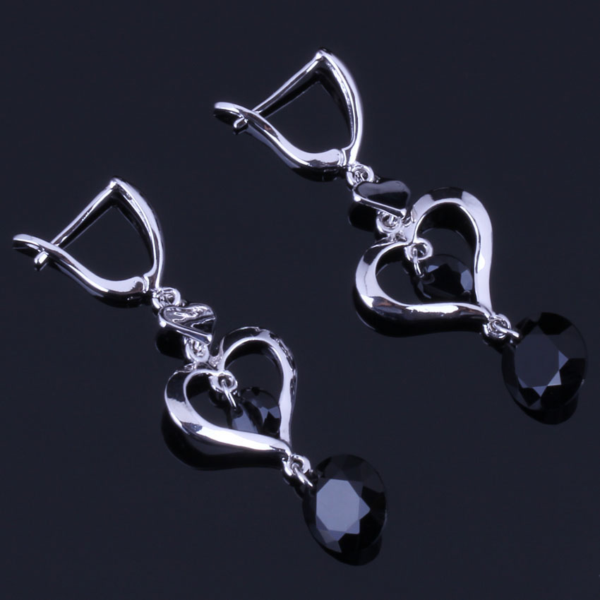 Clean Heart Shaped Round Black Cubic Zirconia 925 Sterling Silver Drop Dangle Earrings For Women V0828
