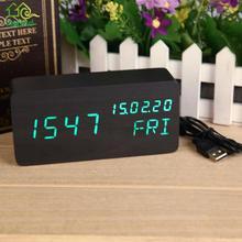 Digital LED Wooden Alarm Clock Voice Control Date Time Calendar Display LED Desktop Table Clock Home Office Decoration