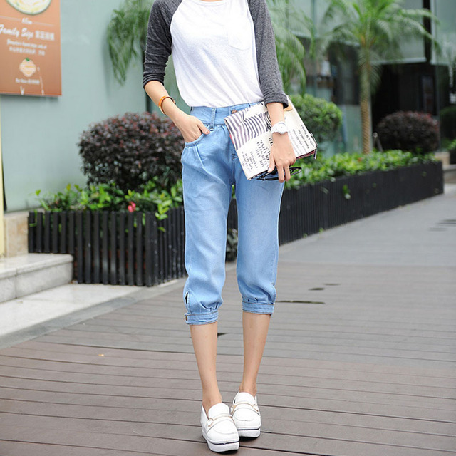 Plus Size Bleached Pants Calf-Length Denim Jeans for Summer Spring Jeans Woman Hot Sale Light Blue