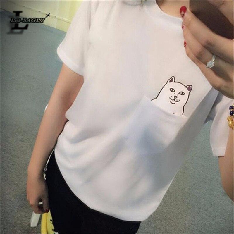 Lei-SAGLY 2018 Bolso de Moda de Nova Harajuku T Shirt do Estilo Selvagem Amantes do gato Grande Metros Mulheres Usam T-Shirt de Manga Curta Casuais H149