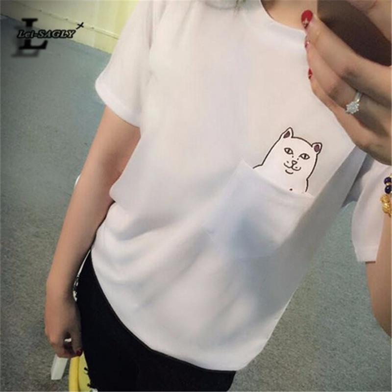 Lei-sagly 2018 nueva moda bolsillo Harajuku estilo Camisas gato salvaje amantes de las yardas grandes mujeres desgaste manga corta casual camiseta h149