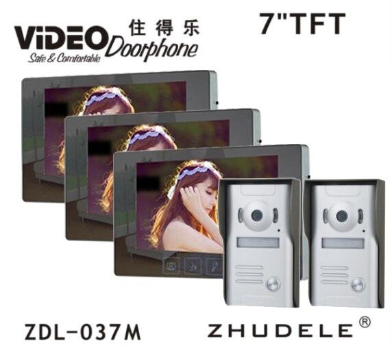 ZHUDELE 7 Color Video Door Phone Doorbell Video Intercom Monitor Kit IR Night Vision Camera Video Intercom for Home Security2V3