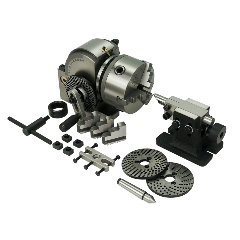 Universal CNC Dividing Head 5 Inch With 125mm 3-jaw Chuck Precision Tailstock 100mm For CNC Milling Machine Rotary Table
