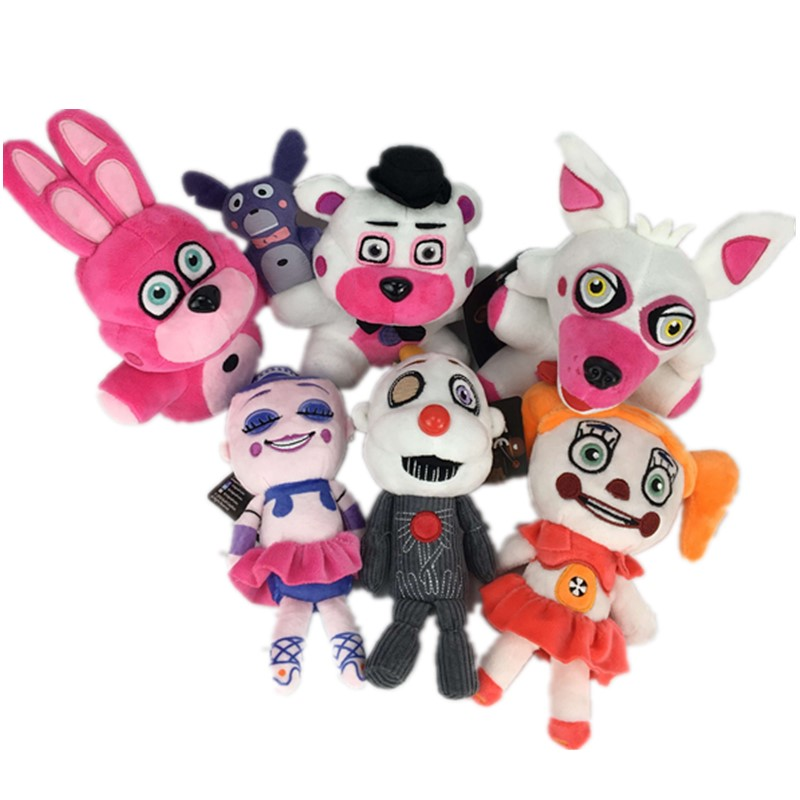 цена 6pcs 20cm FNAF Five Nights At Freddy's Sister Location Plush Toys FNAF Funtime Freddy Foxy Ennard Plush Toy stuffed Dolls child