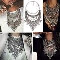 2016 Maxi Collar Z Collares y Colgantes de Cristal de La Vendimia Declaración Gargantilla Collier Femme Boho Grandes Mujeres de La Manera de Plata Joyería