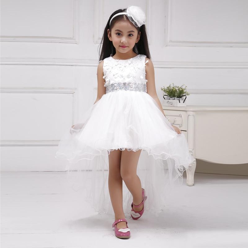 Front Short Trailing White Flower Girl Dresses Fashion Kid