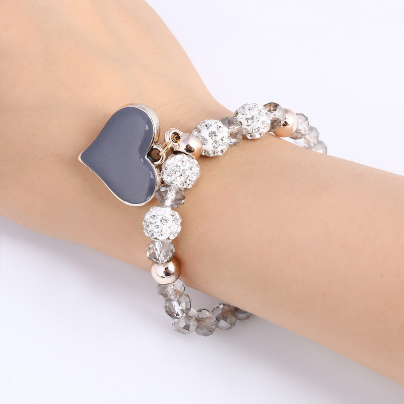 2018 newest heart-shape drop Shambhala fireball beads bracelets & bangles for women popular style 6 color are available