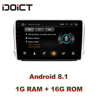 IDOICT Android 8.1 Car DVD Player GPS Navigation Multimedia For peugeot 2008 208 Radio 2014 2018 wifi
