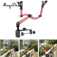 MagiDeal Adjustable Fishing Pole Rod Holder Clamp On Boat Pole Kayak Rod Bracket Red for Flatable Fishing Boat Dinghy Accessory