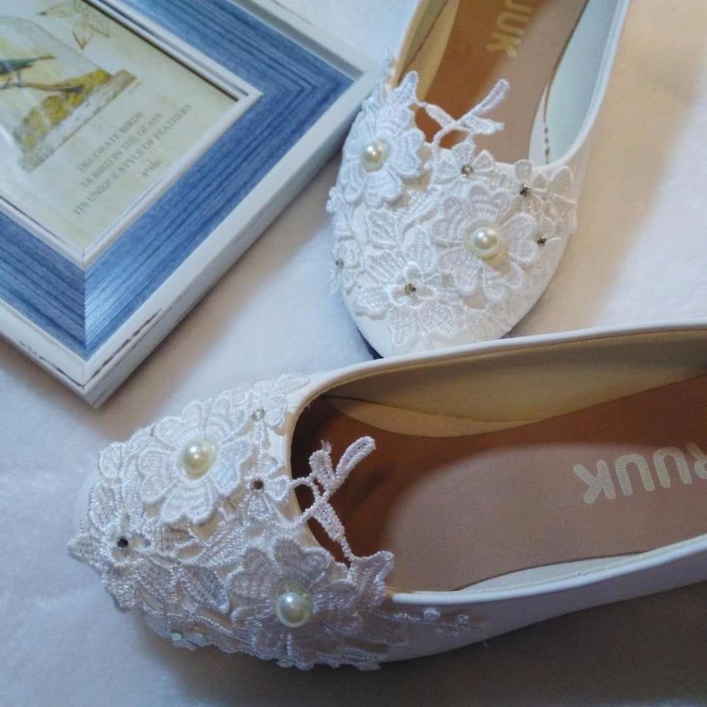 Flats wedding shoe white light ivory lace flower sweet lace flats ...