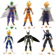 6 pcs/14-16 cm Modelos de Brinquedos de Dragon Ball Dragonball Z Figura Anime DBZ Goku Piccolo Gohan Super saiyan Conjunto Móvel Action Figure(China)