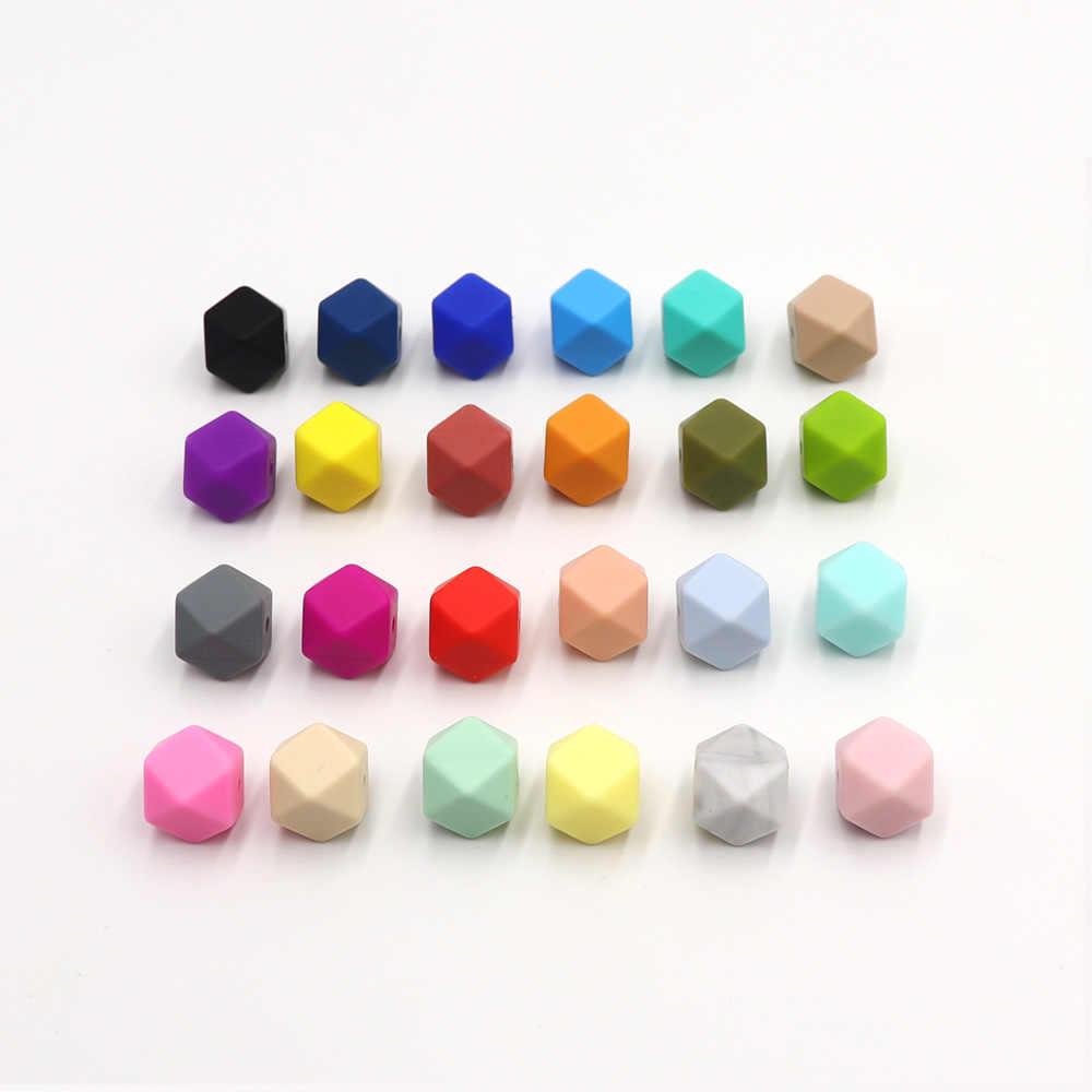 TYRY. HU 100 sztuk/partia 14mm w kształcie sześciokąta kulki silikonowe ząbkowanie dziecko gryzak dziecko DIY zabawki narzędzie pielęgnacja naszyjnik łańcuszek smoczka