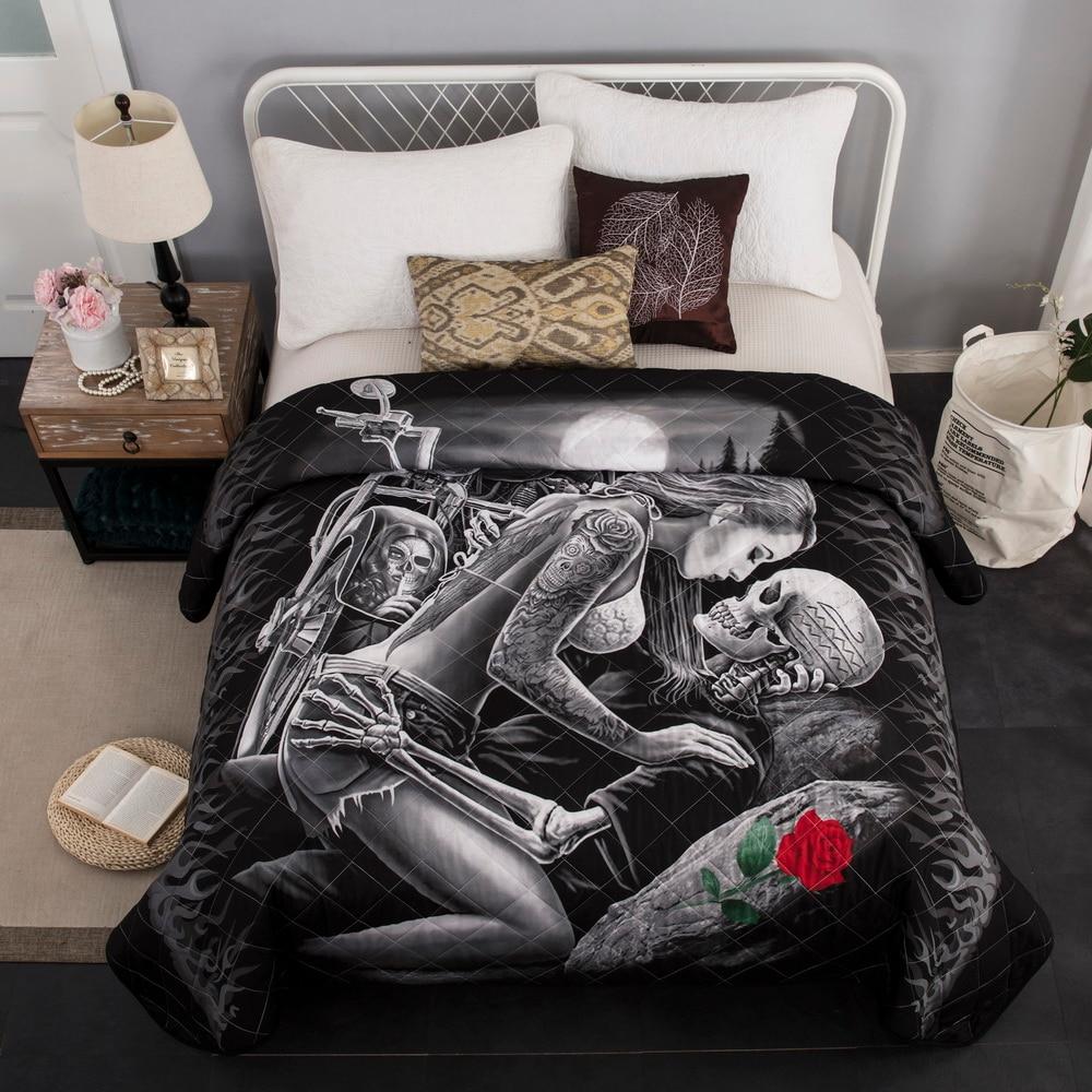 3D Moto beauté crâne couvre-lit matelassé couvre-lit couvre-lit Double été couette couverture reine King taille 230x230 cm 1 pièces