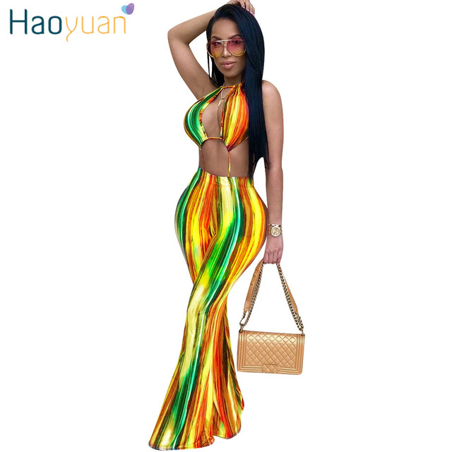 4a6e588afa78 HAOYUAN Rompers Womens Jumpsuit Rainbow Print Wide Leg Pants Off Shoulder  Backless Bodysuit Summer Overalls Club Sexy Jumpsuits