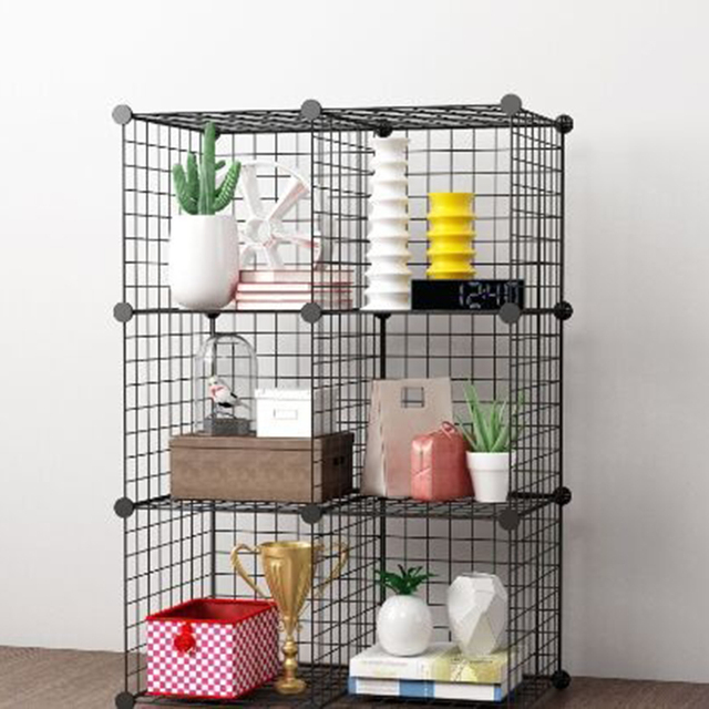 6 Grids Foldable Storage Rack Black Organizing Bookrack Steel Wire Mesh Cube