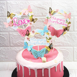 Image 1 - Pink Blue Paper Butterfly Garland Cake Toppers Happy Birthday LOVE Cake Top Decor Birthday Wedding party Supplie