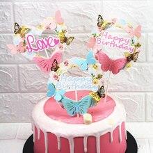 Różowy niebieski papier motyl Garland na wierzch tortu pers wszystkiego najlepszego z okazji urodzin miłość ciasto najlepszy wystrój urodziny wesele Supplie