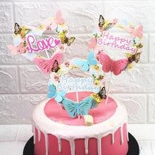 ピンクブルー紙蝶花輪ケーキトッパーハッピーバースデー愛ケーキトップデコレーションバースデーウェディングパーティー Supplie