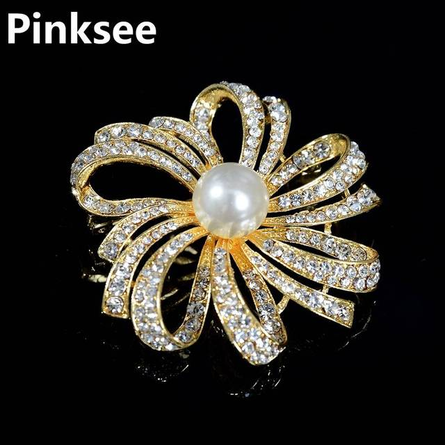 a78f2d2e4 Golden Crystal Flower Brooches Pins Vintage Style Imitation Pearl Big Women  Brooch Wedding Accessories Jewelry