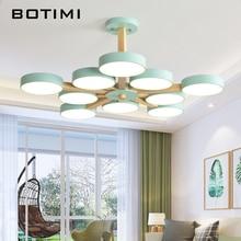 BOTIMI 220В Светодиодная люстра с металлическим абажуром для гостиной, современные потолочные люстры, деревянные люстры для комнат, подвесные лампы