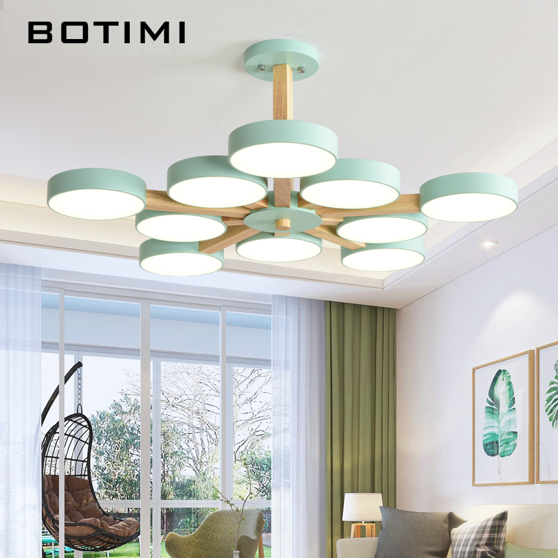BOTIMI 220V LED Chandelier With Metal Lampshade For Living Room Modern Ceiling Chandeliers Wooden Lustres Rooms Hanging Lamps