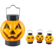 Colorful Glowing Plastic Pumpkin Lantern Light Ghost Head Grim Night  Halloween Party Lamp Decoration Random NEW