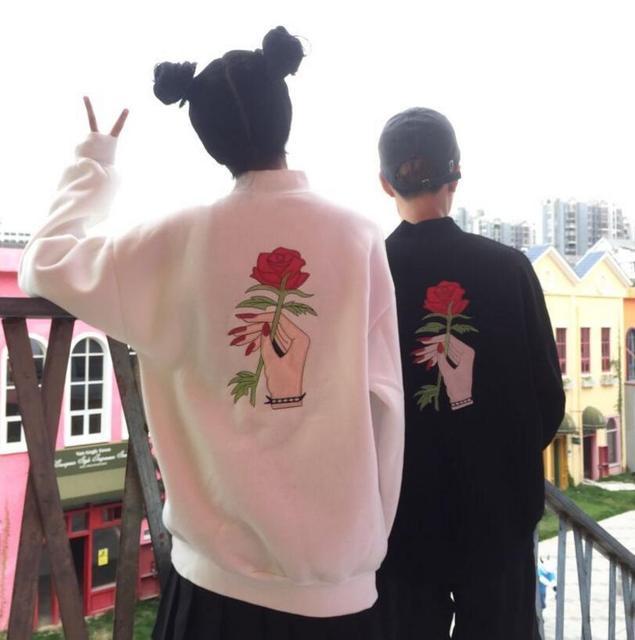 Корейский Harajuku BF ветер чистая с высоким воротником роза свободные повседневные Кофты