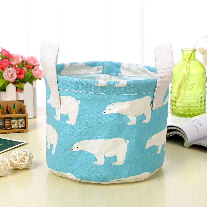 Cartoon Round Cotton Linen Desktop Storage Box Sundries Storage Organizer Stationery Cosmetic Storage Basket Container Case 1