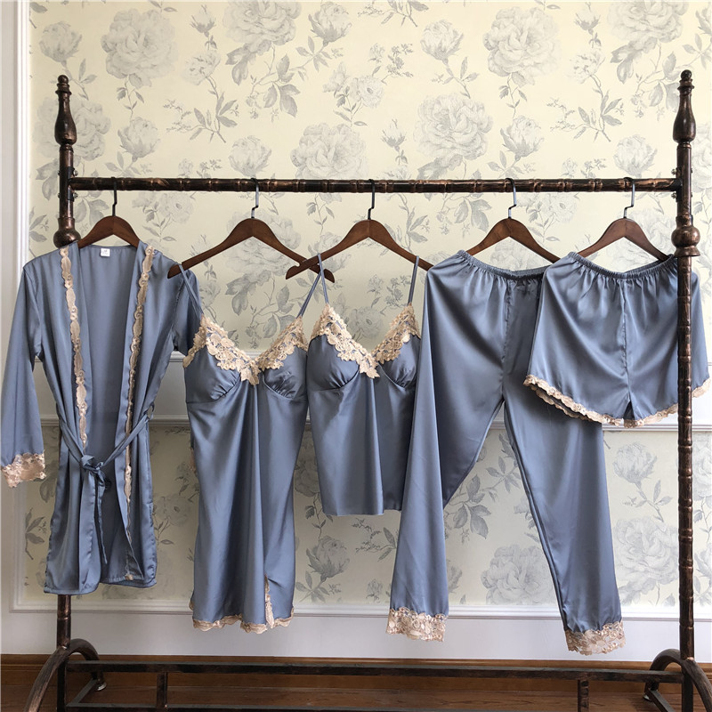 Spring Women 5 Pcs Shirt&pant&nightie&shorts Sleepwear Sexy Lace Trim Solid   Pajamas     Set   Casual Lady Daily Home Clothes M L XL