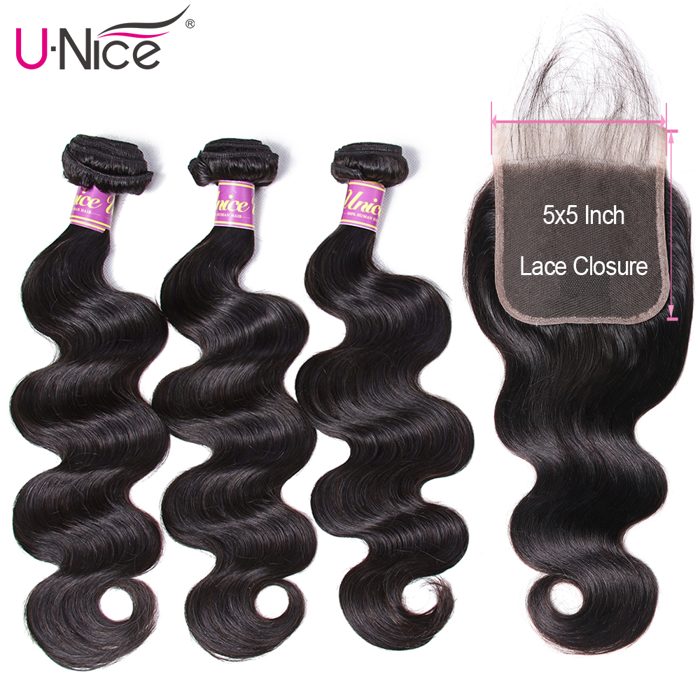 UNICE Hair Body Wave Bundles With 5X5 Closure Brazilian Hair Weave 3 Bundles With Closure 100
