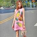 2017 Diseñador Runway Nueva Primavera Vestido Del Tanque Del Verano de Las Mujeres de Alta Calidad de Impresión Piña Jacquard Vestido Rosa