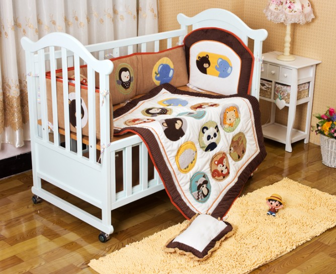 Promotion! 6PCS embroidery baby child bed linen baby bedding piece set cartoon (bumper+duvet+pillow) cute cartoon bird printed square composite linen blend pillow case