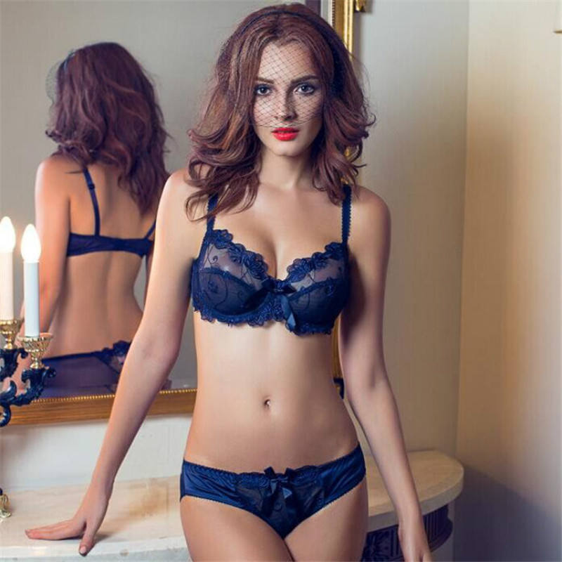 Hot fashion transparent sexy   bra     set   Large size women gauze embroidery ultra-thin women's underwear