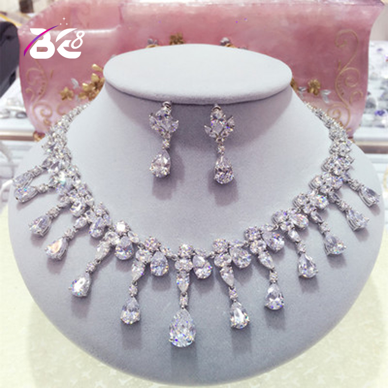 Be 8 Brand AAA CZ Stone Bridal Jewelry Sets Classic Teardrop Crystal Wedding Necklace Sets European Party Jewelry S034