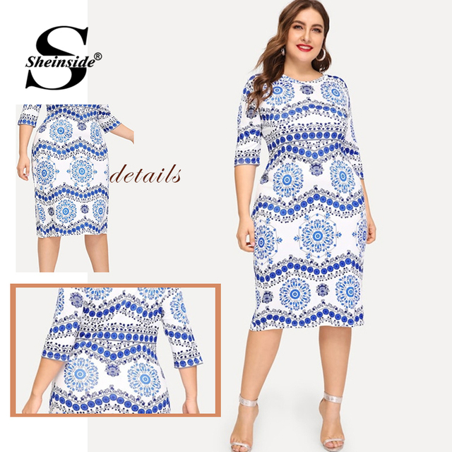 Sheinside Plus Size Elegant Porcelain Print Summer Dress Women 2019 Casual Half Sleeve Trim Midi Dresses Ladies Bodycon Dress 4