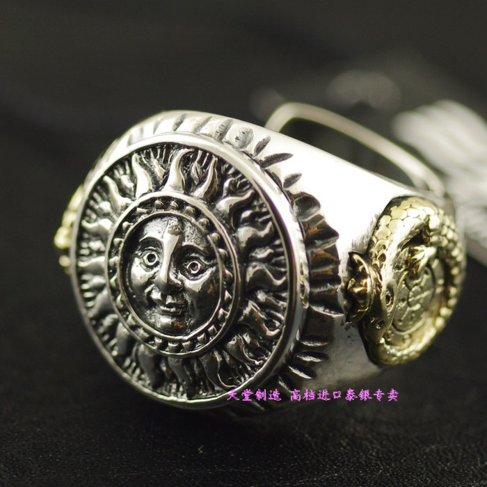 Thailand imports, Good Vibrations new sun god totem Silver Ring thailand imports skull blood new skeleton silver ring