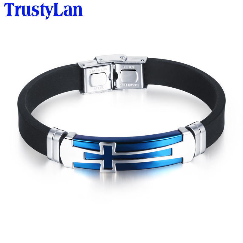 TrustyLan Aliexpress Cool Cross Style Fiber Silicone Bracelet Men Blue Black Stainless Steel Hand Cuff Wristband Gifts Bangles